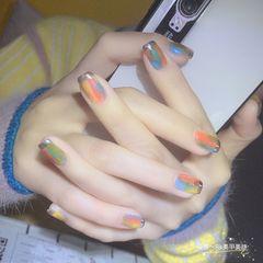 方圆形橙色蓝色手绘晕染法式美甲图片