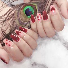 红色跳色方圆形粉色心形新娘美甲图片