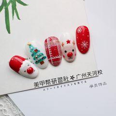 红色格纹拉染圣诞学员作品美甲图片
