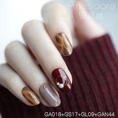 红色秋天豹纹圆形棕色手绘这款显白富有层次感美甲图片