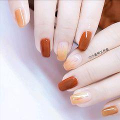 橙色黄色方圆形跳色碎玻璃显白焦糖玻璃纸美甲图片