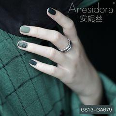 绿色方圆形磨砂格纹高级感 磨砂 秋冬季搭配大衣很好看美甲图片