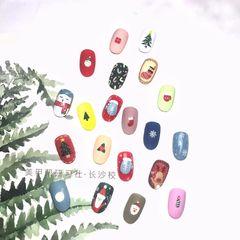 彩色圆形磨砂长沙研习社圣诞节圣诞款秋冬款圣诞节款式美甲图片
