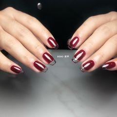 方圆形红色透明法式新娘美甲图片