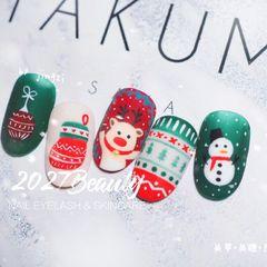 红色圆形绿色手绘圣诞磨砂可爱美甲图片