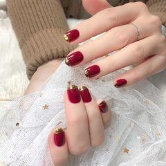 红色圆形魔镜粉法式新娘显白美甲图片
