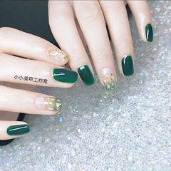 绿色方圆形金箔简约贝壳片渐变美甲图片