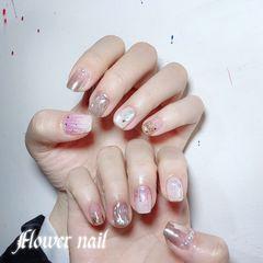 银色方圆形新娘玻璃纸镜面水波纹珍珠美甲图片