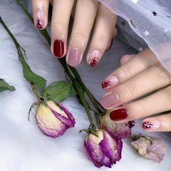 圆形红色粉色晕染新娘美甲图片