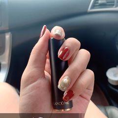 红色方圆形裸色简约跳色秋天金属片珍珠枫叶红美甲图片