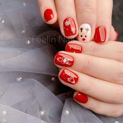 红色方圆形圣诞短指甲手绘可爱圣诞小麋鹿美甲图片
