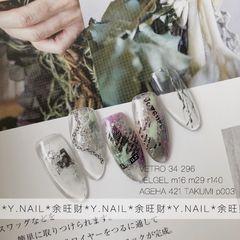 绿色圆形晕染广州也是一张转印纸撑起一个款 英文字母带来欧美时尚感 *余旺财的美甲设计* *Las Hadas™️*美甲图片