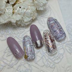 圆形紫色手绘毛呢亮片日式小香格紫美甲图片
