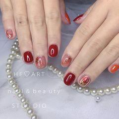 橙色圆形短指甲晕染金箔闪粉金丝玫瑰美甲图片