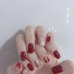 方圆形红色银色水波纹贝壳片新年美甲图片