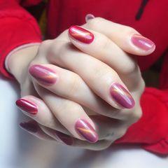 红色新年新娘简约猫眼圆形粉色美甲图片