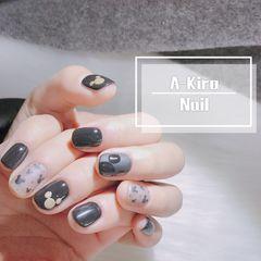 方圆形磨砂短指甲新年米奇黑色可爱美甲图片