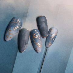 蓝色尖形手绘磨砂美甲图片