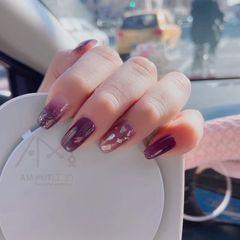 方圆形新年金箔贝壳片紫色美甲图片