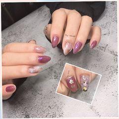 尖形晕染手绘动漫紫色脏脏紫系列美甲图片