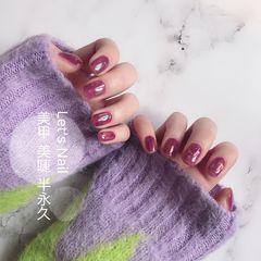 方圆形贝壳片简约玻璃纸紫色美甲图片