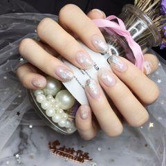 裸色方圆形贝壳片新娘银色美甲图片