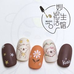 圆形磨砂短指甲手绘可爱美甲图片