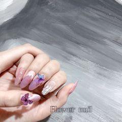 银色圆形春天晕染水波纹紫色白色美甲图片