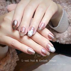 银色方圆形简约日式石纹黑檀+涩味美甲图片