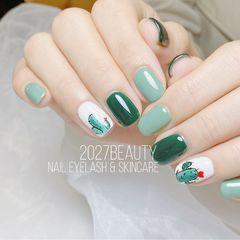 绿色方圆形手绘仙人掌美甲美甲图片