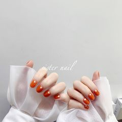 橙色圆形简约春天上班族白色南瓜色南瓜色配上小爱心🧡美甲图片