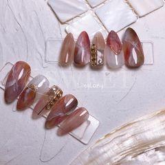 尖形夏天晕染魔镜粉红色豆沙色金属饰品美甲图片