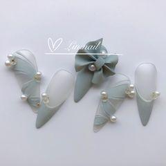 尖形磨砂蝴蝶结灰色珍珠芭蕾舞鞋今年很火的芭蕾舞鞋美甲💅美甲图片