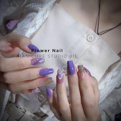方圆形晕染夏天渐变紫色美甲图片