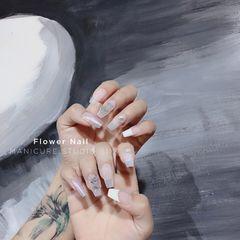 银色方圆形夏天简约新娘法式白色珍珠美甲图片
