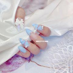 蓝色尖形磨砂手绘珍珠芭蕾舞鞋蝴蝶结美甲图片