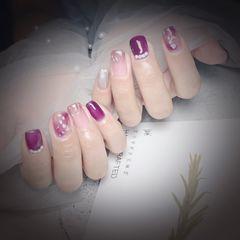 方圆形晕染渐变金箔贝壳片紫色魔镜粉玻璃纸美甲图片