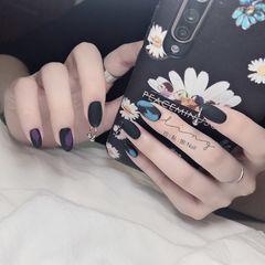 蓝色尖形夏天磨砂简约跳色紫色美甲图片