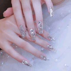银色方圆形新娘简约仙女银魔镜粉,高级感美甲图片