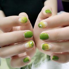 方圆形夏天简约牛油果绿,渐变,贝壳片美甲图片
