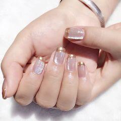 裸色方圆形短指甲夏天上班族简约猫眼法式魔镜粉美甲图片