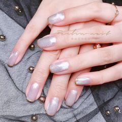 银色方形美甲图片