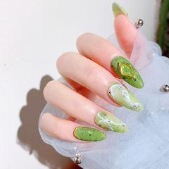 绿色尖形夏天晕染日式石纹夏季怎么能少得了显白清凉的果绿色呢,仙女们快快安排起来!!!美甲图片