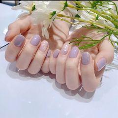 方圆形短指甲晕染贝壳片紫色美甲图片