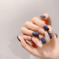 蓝色方形夏天简约款美甲图片