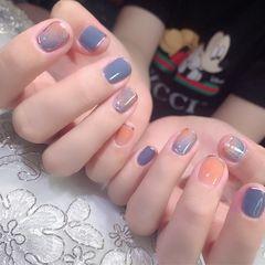 蓝色裸色橙色方圆形夏天短指甲美甲图片