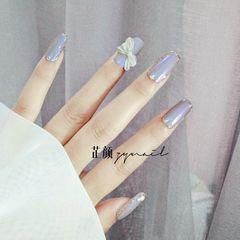 蓝色方形夏天磨砂简约灰色美甲图片