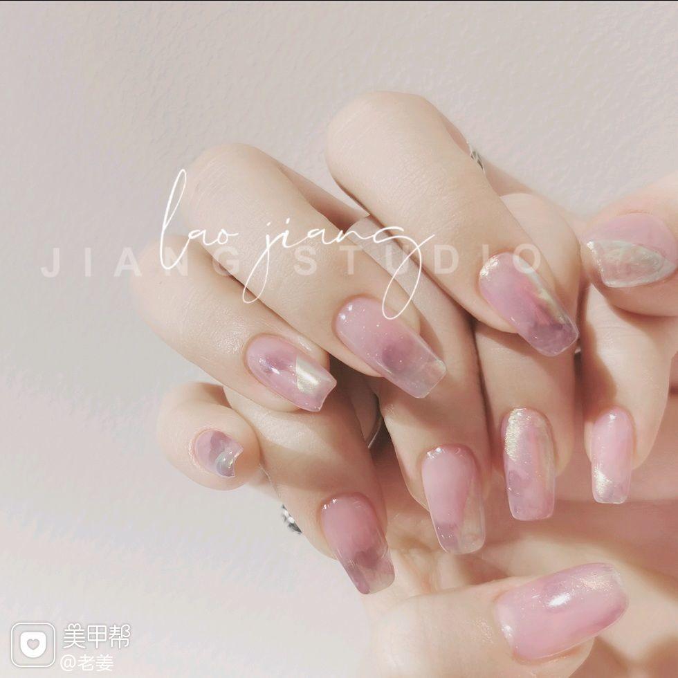 裸色方圆形短指甲新娘简约夏天上班族晕染美甲图片