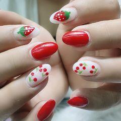 红色圆形夏天美甲图片