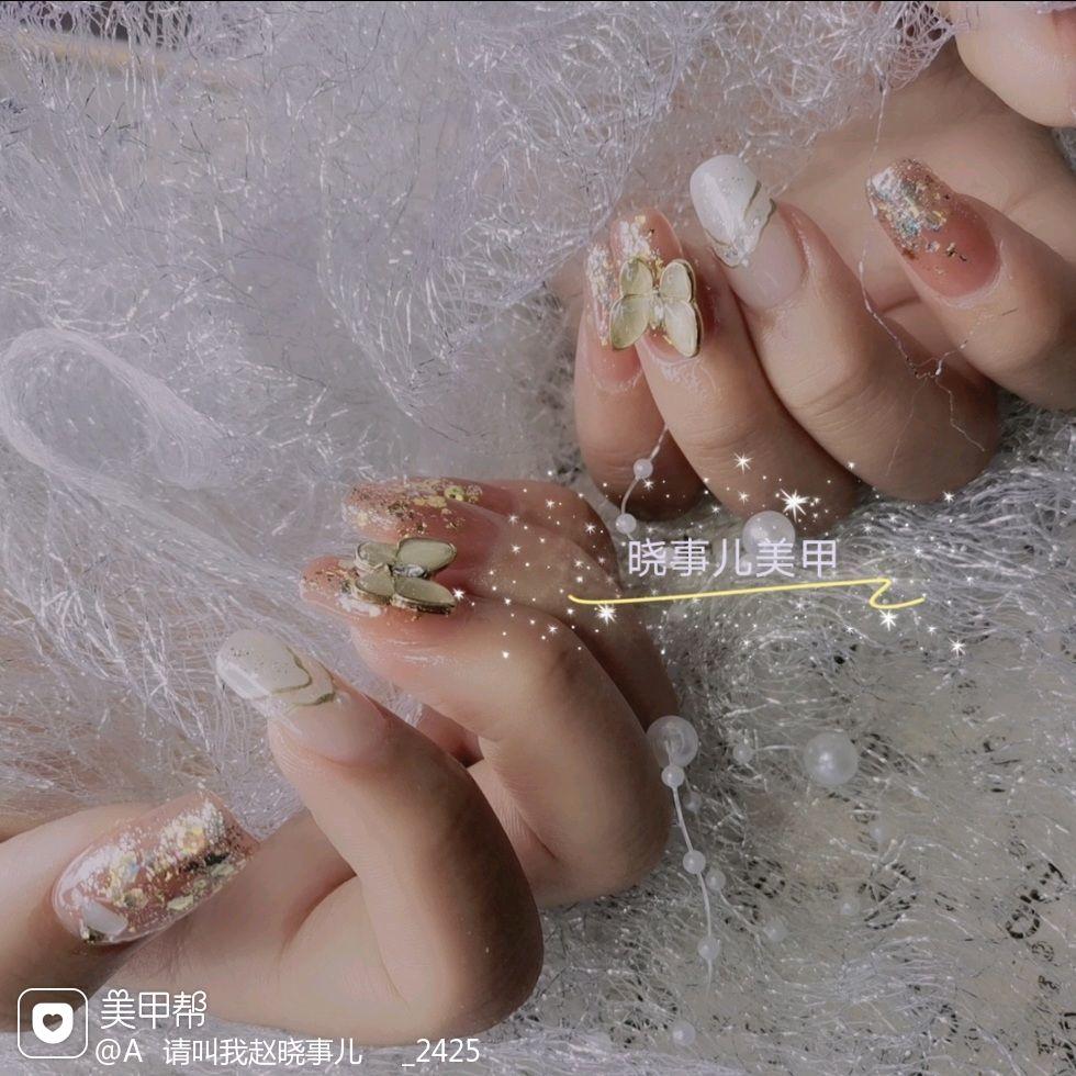 裸色方形渐变夏天新娘美甲图片